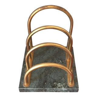 Brass & Marble Desk Organizer