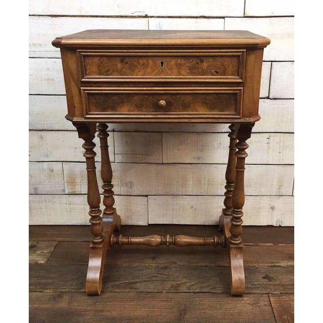 Antique French Vanity Armoire Desk, Burl Wood & Walnut - Image 3 of 10