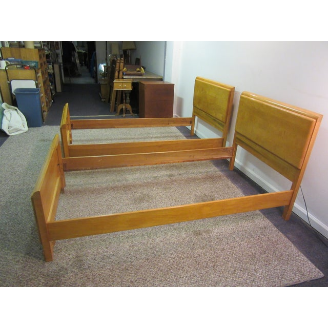 Image of Mid-Century Wakefield Style Twin Beds - A Pair