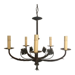 Spanish Revival Iron & Brass Chandelier