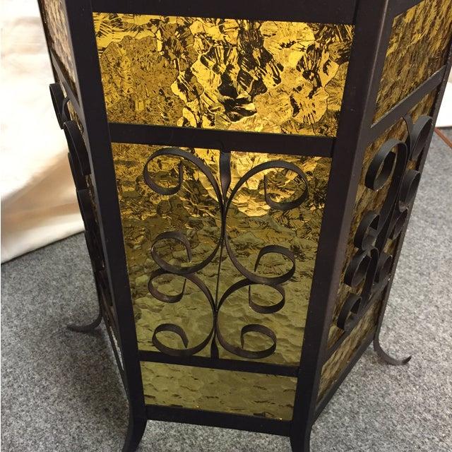 Image of Gothic Spanish Revival Iron Slag Glass Light