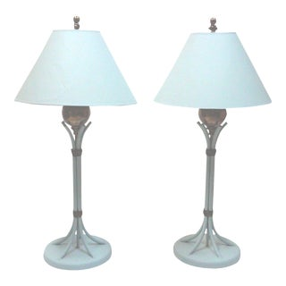 Blue Iron and Brass Table Lamps - A Pair