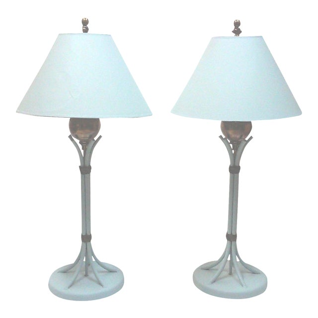 Image of Blue Iron and Brass Table Lamps - A Pair