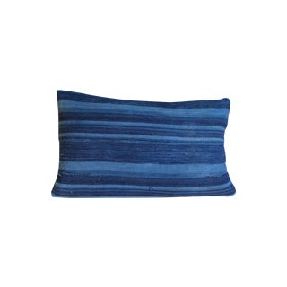 Dark Blue Striped Indigo Lumbar Pillow