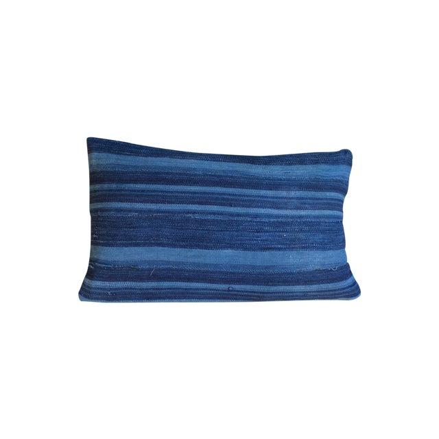 Dark Blue Striped Indigo Lumbar Pillow - Image 1 of 6