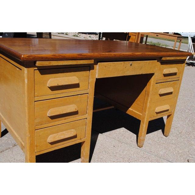Vintage oak teachers desk with six drawers chairish