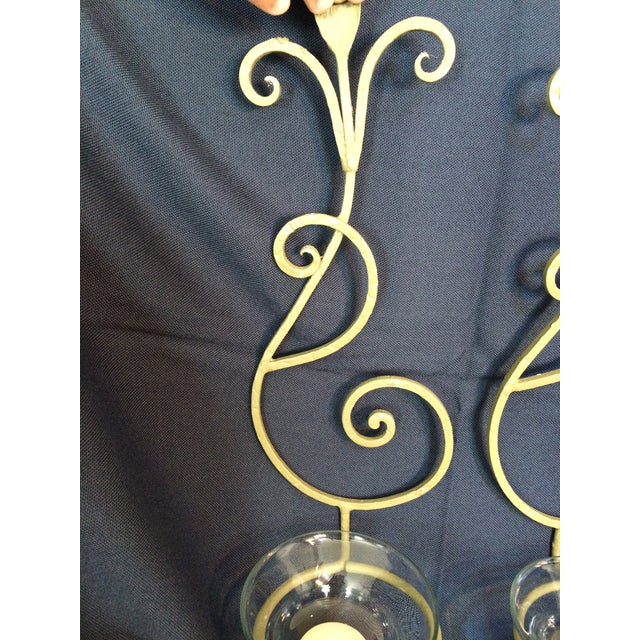 Wrought Iron Wall Candle Sconces - A Pair - Image 6 of 6
