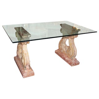 Marble & Glass Topped Dining Table