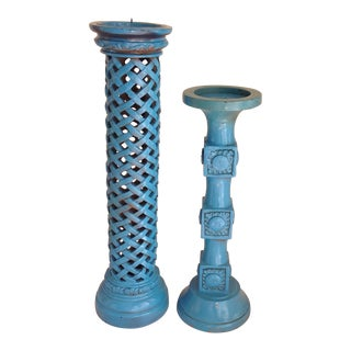 Bohemian Cerulean Blue Candle Holders - a Pair