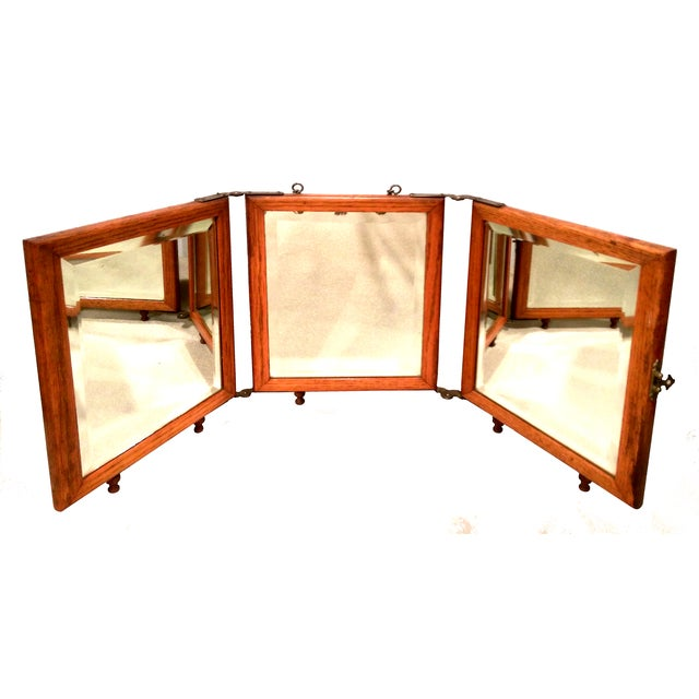 Image of Antique Aesthetic Eastlake Tri-Fold Shaving Mirror