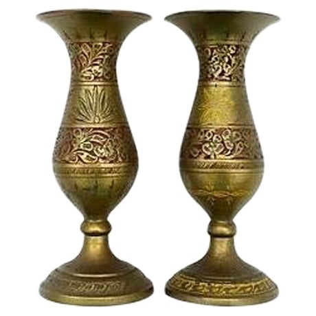 Indian Fluted Vases - A Pair - Image 1 of 9