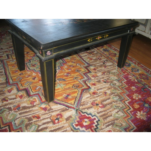 Image of Hand Painted Floral Design Black Coffee Table