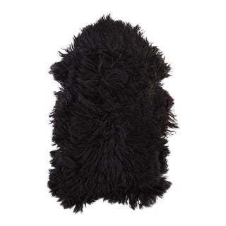 "Black Handmade Sheepskin Rug - 3'7"" x 2'2"""