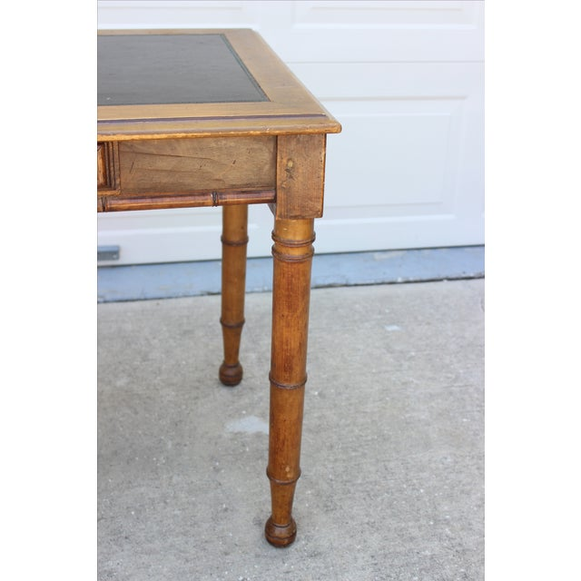Faux Bamboo Desk with Leather Inlay - Image 7 of 11