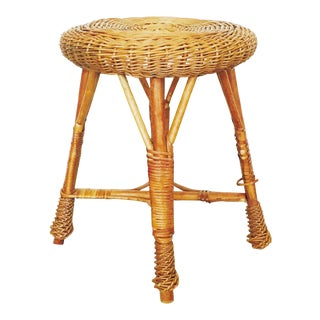 Vintage Round Wicker Stool or Plant Stand