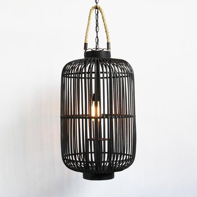 Tall Black Bamboo & Rope Lantern - Image 2 of 2