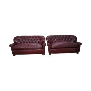 Tufted Leather Chesterfield Sofas - A Pair