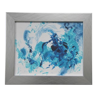 Blue Breeze 2 Abstract Blue and White Framed Painting by L. Paul
