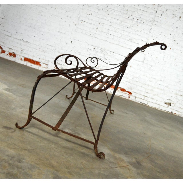 Antique 19th Century Forged Strap Iron Garden Bench - Image 7 of 10