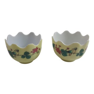 Yellow Porcelain Egg Cups - A Pair