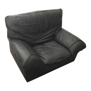 Contemporary Roche Bobois Black Leather Armchair