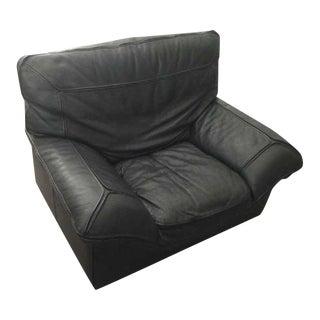 Contemporary Roche Bobois Black Leather Armchair
