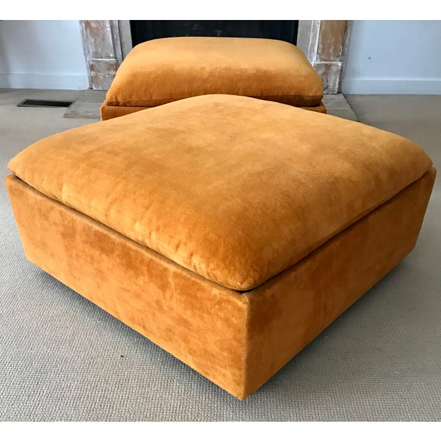 Vintage Mid-Century Orange Velvet Ottomans - A Pair - Image 10 of 10
