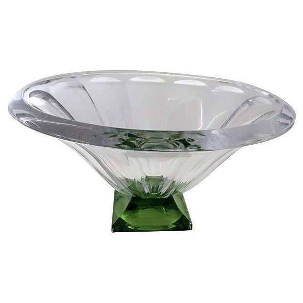 Clear Emerald Faceted Footed Bowl Chairish