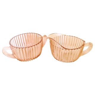 Pink Depression Glass Cream and Sugar