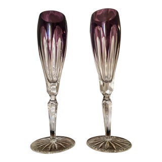 Amethyst Faberge Lausanne Flutes Glasses - A Pair