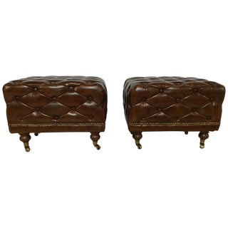 Leather Chesterfield Ralph Lauren Style Footstools - A Pair