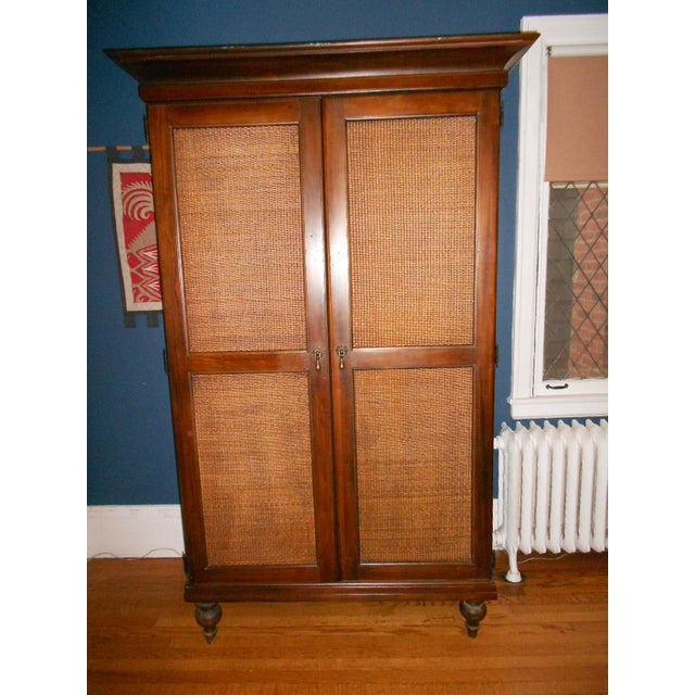 Wooden Armoire With Cane Panels - Image 2 of 5