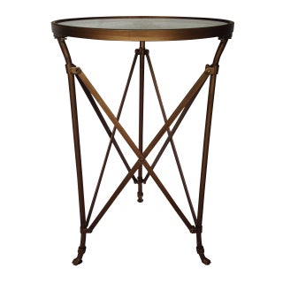 Round Metal Campaign Style Side Table