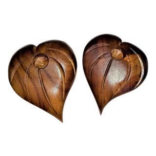 House of Kalai Hawaiian Koa Wood Leaf Candle Holders - A Pair