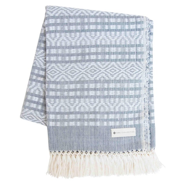 Blue-Gray & White Handwoven Mexican Throw - Image 1 of 4