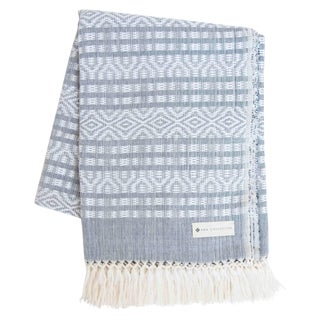 Blue-Gray & White Handwoven Mexican Throw
