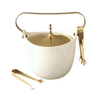 Gold & White Hollywood Regency Ceramic Ice Bucket