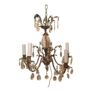 Five Arm Crystal Chandelier Circa 1940