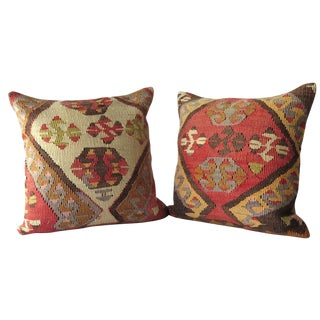 Vintage Kilim Wool Pillows - A Pair