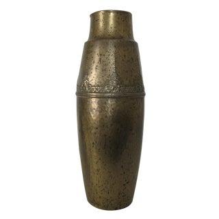 Brass Floral Canister Vase