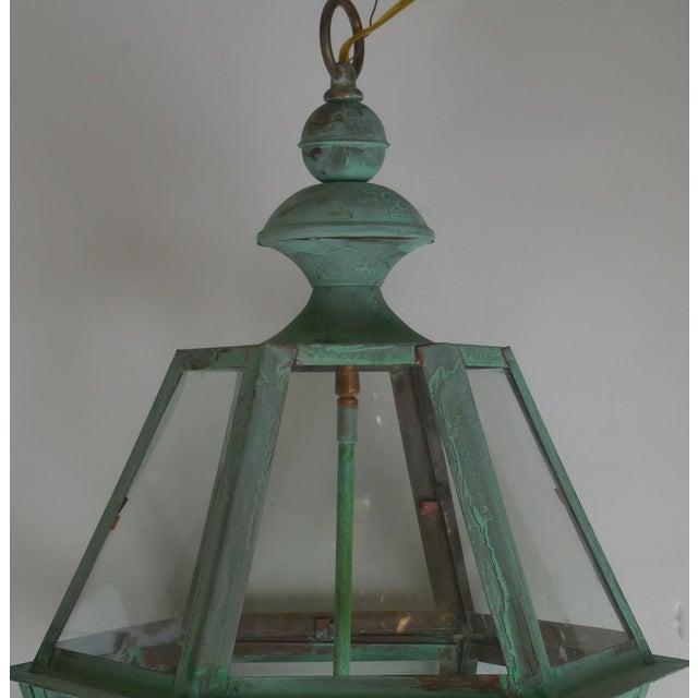 Hexagon Shabby Chic Hanging Copper Lantern - Image 11 of 11