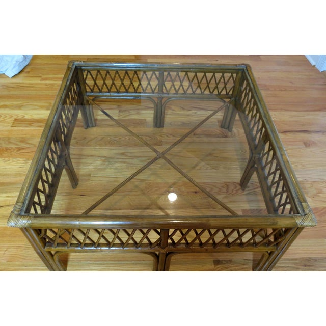 Bamboo, Wood and Glass Coffee Table - Image 3 of 5