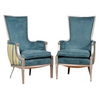 Aqua Upholstered Neoclassical Chairs - a Pair