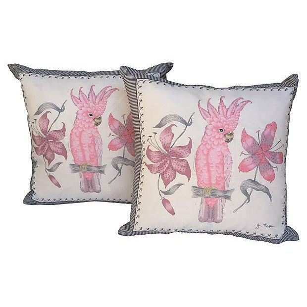 Pink Cockatoo Silk Scarf Pillows- A Pair - Image 1 of 5