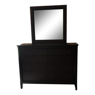 Pottery Barn Black Wooden Dresser & Mirror