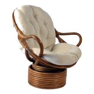 Boho Chic Bungalow Vintage Rattan Swivel Chair