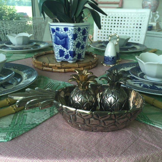 Vintage Silver Pineapple Bowl With Matching Pineapple Salt & Pepper Shaker Set - Image 3 of 10