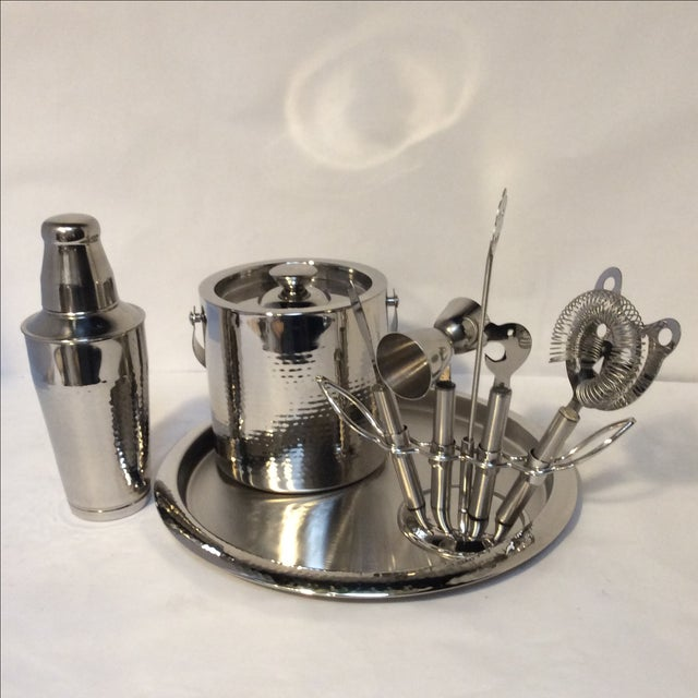 Hammered Stainless Steel Bar Set - Image 2 of 8