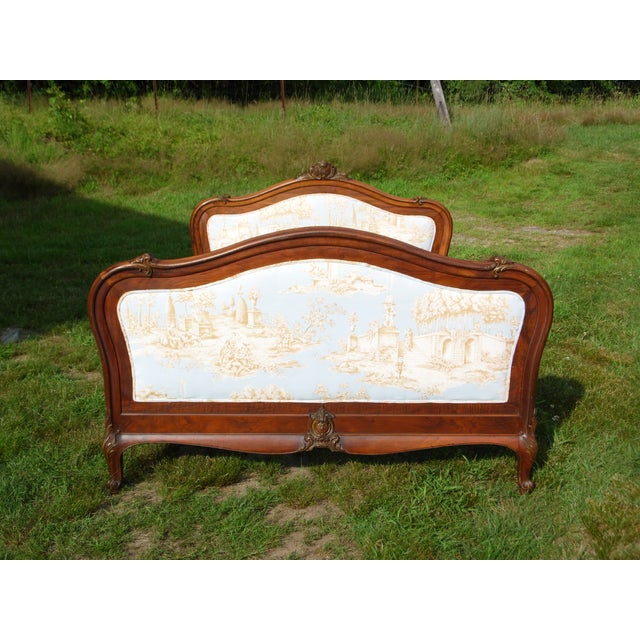 Antique French Louis XV Carved Solid Wood Toile Upholstered Full Double Bed - Image 6 of 11