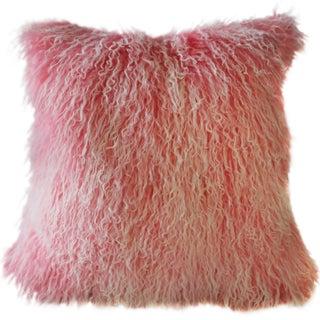 Frosted Pink Mongolian Sheepskin Pillow